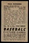 1952 Bowman #93  Paul Richards  Back Thumbnail