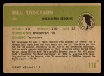 1961 Fleer #111  Bill Anderson  Back Thumbnail