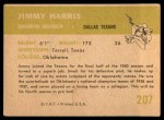 1961 Fleer #207  Jimmy Harris  Back Thumbnail