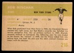1961 Fleer #216  Bob Mischak  Back Thumbnail