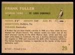 1961 Fleer #29  Frank Fuller  Back Thumbnail
