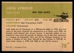 1961 Fleer #70  Jack Stroud  Back Thumbnail
