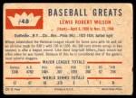 1960 Fleer #48  Hack Wilson  Back Thumbnail