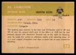 1961 Fleer #173  Al Jamison  Back Thumbnail