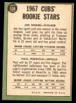 1967 Topps #536   -  Joe Niekro / Paul Popovich Cubs Rookies Back Thumbnail