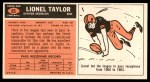 1965 Topps #65  Lionel Taylor  Back Thumbnail