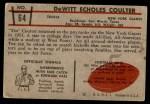 1953 Bowman #64  Tex Coulter  Back Thumbnail