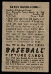 1952 Bowman #99  Clyde McCullough  Back Thumbnail