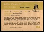1961 Fleer #184  Ross OHanley  Back Thumbnail