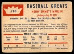 1960 Fleer #18  Heinie Manush  Back Thumbnail