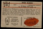 1953 Bowman #68  Dick Alban  Back Thumbnail