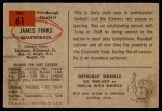 1954 Bowman #61  Jim Finks  Back Thumbnail