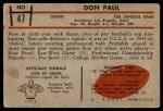 1953 Bowman #47  Don Paul  Back Thumbnail