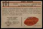 1953 Bowman #69  Andy Kozar  Back Thumbnail