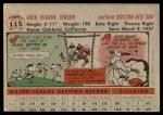 1956 Topps #115 GRY Jackie Jensen  Back Thumbnail