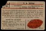 1953 Bowman #56  Y.A. Tittle  Back Thumbnail