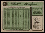 1974 Topps #1   -  Hank Aaron New All-Time Home Run King Back Thumbnail