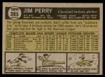1961 Topps #385  Jim Perry  Back Thumbnail