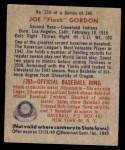 1949 Bowman #210  Joe Gordon  Back Thumbnail