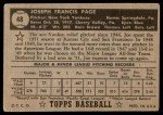 1952 Topps #48 COR Joe Page  Back Thumbnail