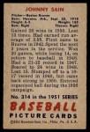 1951 Bowman #314  Johnny Sain  Back Thumbnail