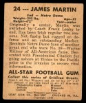 1948 Leaf #24 RED Jim Martin  Back Thumbnail