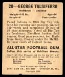 1948 Leaf #20 YEL George Taliaferro  Back Thumbnail