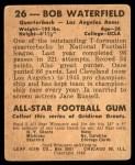1948 Leaf #26 BNOF Bob Waterfield  Back Thumbnail