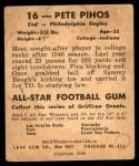 1948 Leaf #16 YEL Pete Pihos  Back Thumbnail