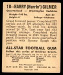 1948 Leaf #18  Harry Gilmer  Back Thumbnail