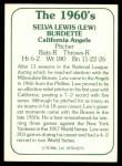 1978 TCMA The 60's #276  Lew Burdette  Back Thumbnail