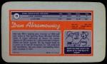 1970 Topps Super #19  Dan Abramowicz     Back Thumbnail