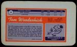 1970 Topps Super #23  Tom Woodeshick  Back Thumbnail
