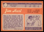 1970 Topps #177  Jim Hart  Back Thumbnail