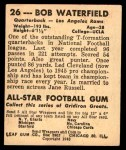 1948 Leaf #26 BNOF Bob Waterfield  Back Thumbnail