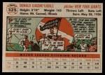 1956 Topps #325  Don Liddle  Back Thumbnail