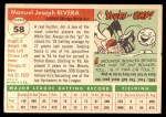 1955 Topps #58  Jim Rivera  Back Thumbnail