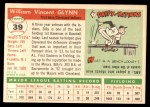 1955 Topps #39  Bill Glynn  Back Thumbnail