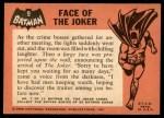 1966 Topps Batman Black Bat #9 BLK  Face of the Joker Back Thumbnail