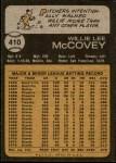 1973 Topps #410  Willie McCovey  Back Thumbnail