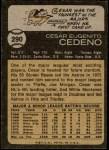 1973 Topps #290  Cesar Cedeno  Back Thumbnail