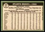 1967 Topps #477   Braves Team Back Thumbnail