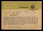 1961 Fleer #172  Bill Groman  Back Thumbnail