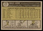 1961 Topps #117  Dale Long  Back Thumbnail
