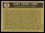 1961 Topps #75   -   Larry Jackson / Lindy McDaniel Lindy Shows Larry  Back Thumbnail
