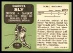 1970 Topps #115  Darryl Sly  Back Thumbnail