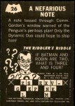 1966 Topps Batman -  Riddler Back #26 RID  Nefarious Note Back Thumbnail
