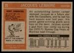 1972 Topps #25  Jacques Lemaire  Back Thumbnail