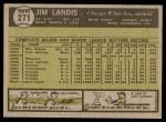 1961 Topps #271  Jim Landis  Back Thumbnail