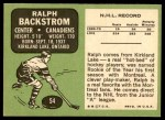 1970 Topps #54  Ralph Backstrom  Back Thumbnail